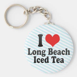 Amo Long Beach+Té helado Llavero Redondo Tipo Pin