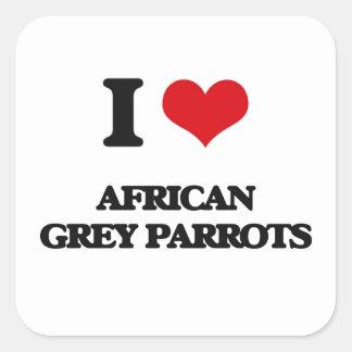 Amo loros del gris africano pegatina cuadrada