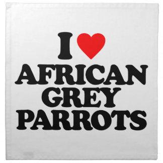 AMO LOROS DEL GRIS AFRICANO SERVILLETAS DE PAPEL