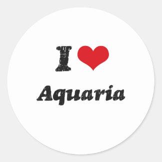 Amo los acuarios etiquetas redondas