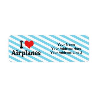 Amo los aeroplanos etiqueta de remite