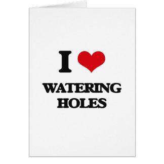 Amo los agujeros de riego tarjeta de felicitación