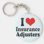 Amo los ajustador de seguro llaveros