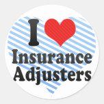 Amo los ajustador de seguro pegatinas redondas