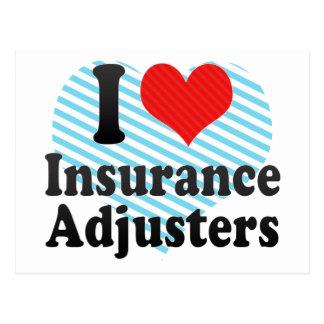Amo los ajustador de seguro tarjeta postal