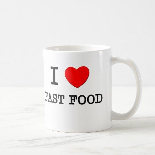 Amo los alimentos de preparación rápida taza básica blanca