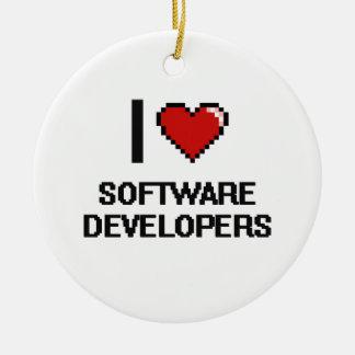 Amo los analistas de programas informáticos adorno redondo de cerámica