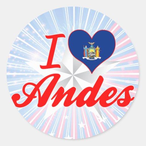 Amo los Andes, Nueva York Etiquetas Redondas