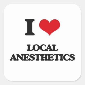 Amo los anestésicos locales pegatina cuadrada