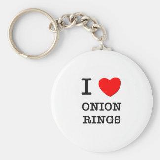 Amo los anillos de cebolla llavero redondo tipo pin