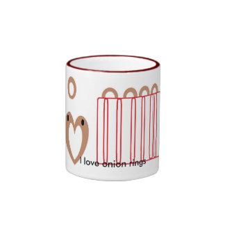 Amo los anillos de cebolla taza a dos colores