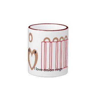 Amo los anillos de cebolla taza de dos colores