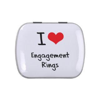Amo los anillos de compromiso frascos de dulces