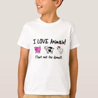 Amo los animales vegetarianos playera