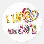 Amo los años 50 pegatina redonda