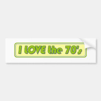 Amo los años 70 pegatina para auto