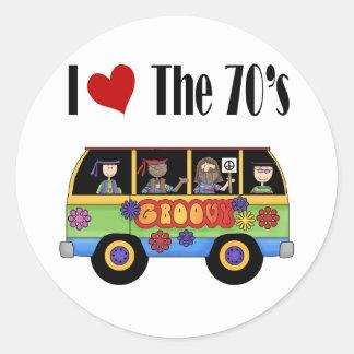 Amo los años 70 pegatina redonda
