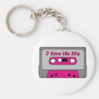 Amo los años 80 (el casete) llavero redondo tipo pin