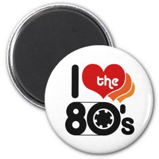 Amo los años 80 imán redondo 5 cm