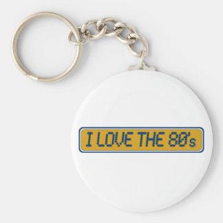 Amo los años 80 llavero personalizado
