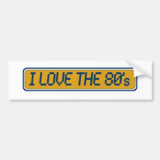 Amo los años 80 pegatina de parachoque