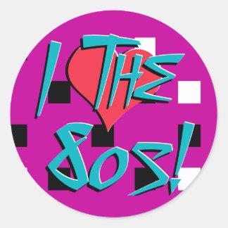 ¡Amo los años 80! Pegatina Redonda