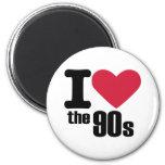 Amo los años 90 imán redondo 5 cm