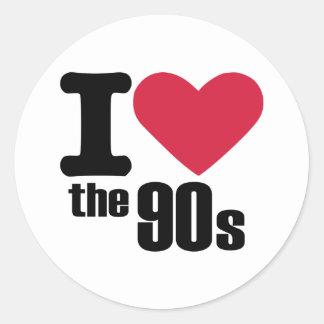 Amo los años 90 pegatina redonda