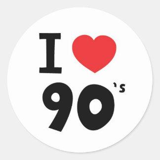 Amo los años noventa pegatina redonda