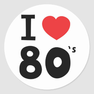 Amo los años ochenta etiquetas redondas
