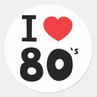 Amo los años ochenta pegatina redonda