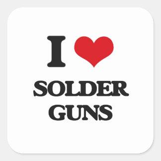 Amo los armas de la soldadura pegatina cuadrada