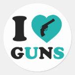 Amo los armas pegatina redonda