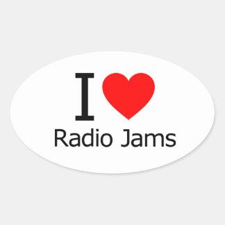 Amo los atascos de radio pegatina de ovaladas