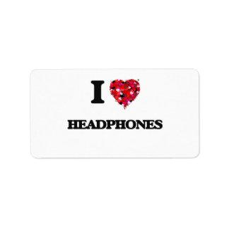 Amo los auriculares etiquetas de dirección