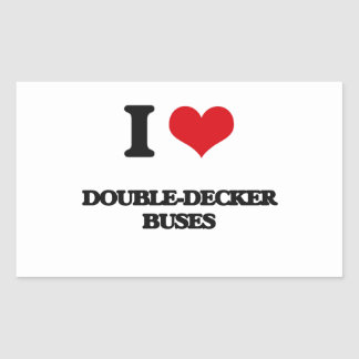 Amo los autobuses de dos plantas pegatina rectangular