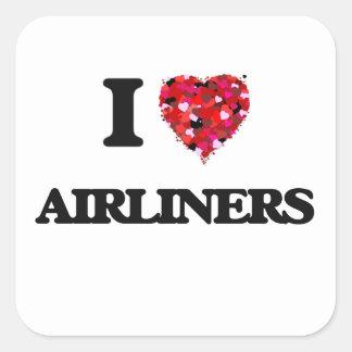 Amo los aviones de pasajeros pegatina cuadrada