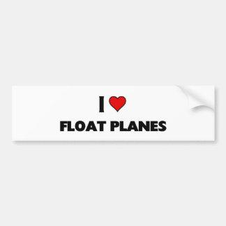 Amo los aviones del flotador etiqueta de parachoque