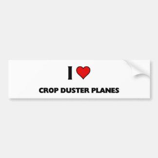 Amo los aviones del plumero de la cosecha etiqueta de parachoque