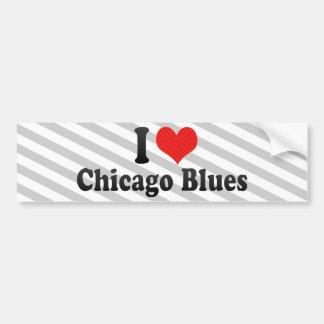 Amo los azules de Chicago Pegatina De Parachoque