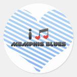 Amo los azules de Memphis Etiquetas Redondas