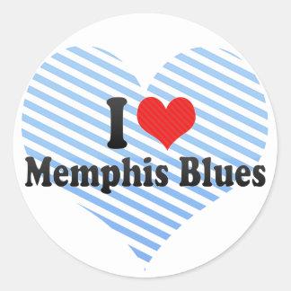 Amo los azules de Memphis Pegatina Redonda