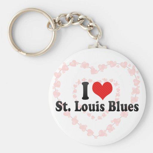 Amo los azules de St. Louis Llaveros Personalizados