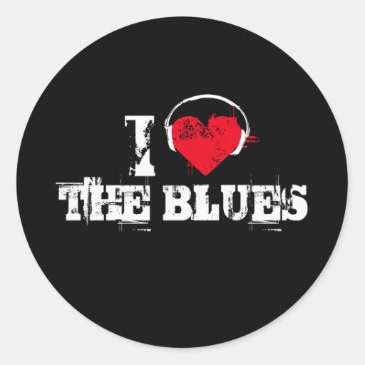 Amo los azules etiqueta redonda