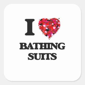 Amo los bañadores pegatina cuadrada
