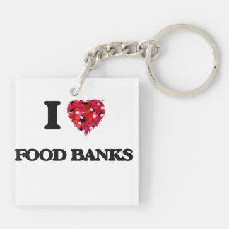 Amo los bancos de alimentos llavero cuadrado acrílico a doble cara