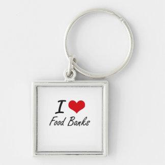 Amo los bancos de alimentos llavero cuadrado plateado
