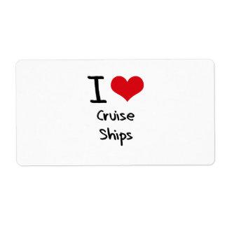 Amo los barcos de cruceros etiquetas de envío