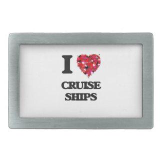 Amo los barcos de cruceros hebilla cinturon rectangular