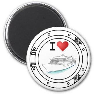Amo los barcos de cruceros imán redondo 5 cm